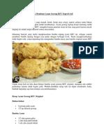 Cara Membuat Ayam Goreng KFC Seperti Asli