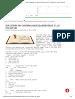 Soal Latihan Dan Kunci Jawaban Ukk Bahasa Inggris Kelas 7 (Vii) Smp