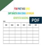 Contoh Daftar Piket Mck Siang