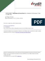 Études Internationales Volume 35 issue 4 2004 [doi 10.7202%2F010514ar] Chrestia, Philippe -- Moyen-Orient - Géopolitique du Proche-Orient. Defay, Alexandre. Coll. Que sais-je_, Paris, puf, 2003, 127