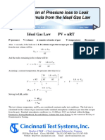 Derivation of Pressure loss to Leak Rate Formula from the Ideal Gas Law