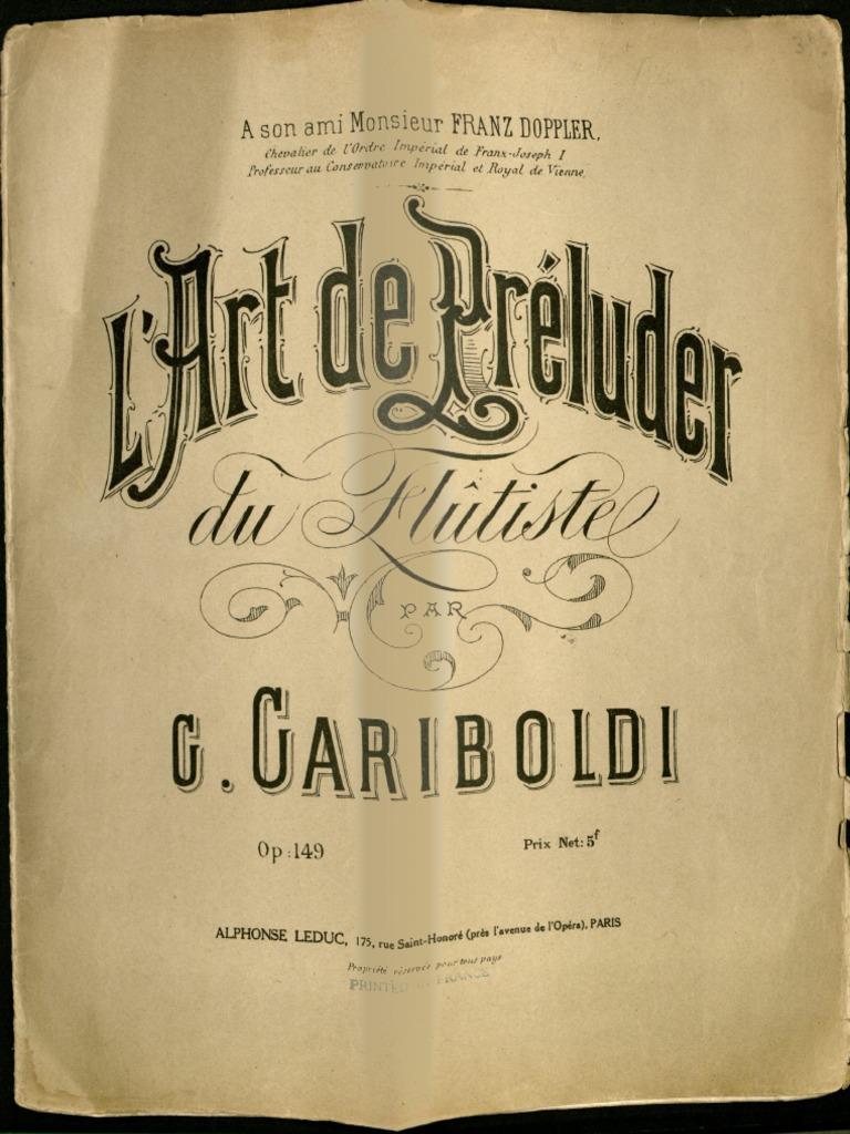 149 Rue Saint Honoré l'art de preluder g.gariboldi op.149