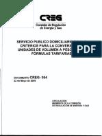 D-054-09 Factores de Conversión de Volumen a Masa