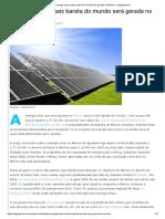 A Energia Solar Mais Barata Do Mundo Será Gerada No México