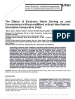 The Effects of Electronic Waste Burning on Lead Concentration in Water and Blood in South West Hebron