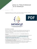 Cómo Registrar Tu Título Profesional Extranjero en La Senescyt