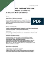 NORMA Oficial Mexicana NOM-059-SSA1-2015, Buenas Prácticas de Fabricación de Medicamentos.