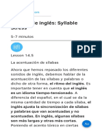 Lección de Inglés Syllable Stress