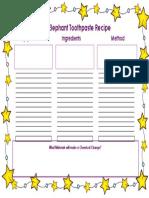 elephant toothpaste recipe worksheet modified