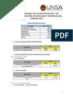 Informe Economico de 18º Congreso Internacional de Metalurgia y Materiales Sam