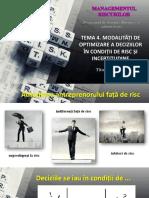 Tema 4 Aplicații rezolvate. Metode de luarea a deciziilor în condiții de risc și incertitudine