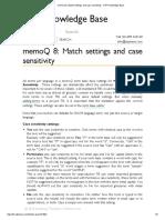 MemoQ 8  Match Settings and Case Sensitivity