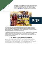 Cara Daftar Casino Online Hanya 5 Menit