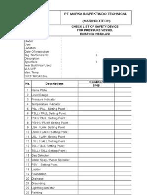 Checklist Skkpi   Pipe (Fluid Conveyance)   Manufactured Goods