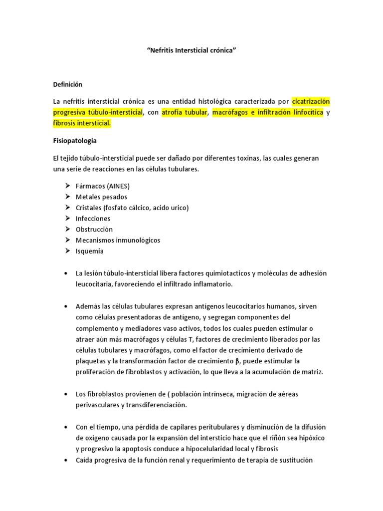 nefritis tubulointersticial fisiopatología de la diabetes