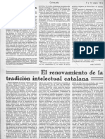 D'Ors El Renovamiento de La Tradición Intelectual Catalana