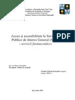Acces Și Accesibilitate La Serviciile Publice de Interes General (SPIG)