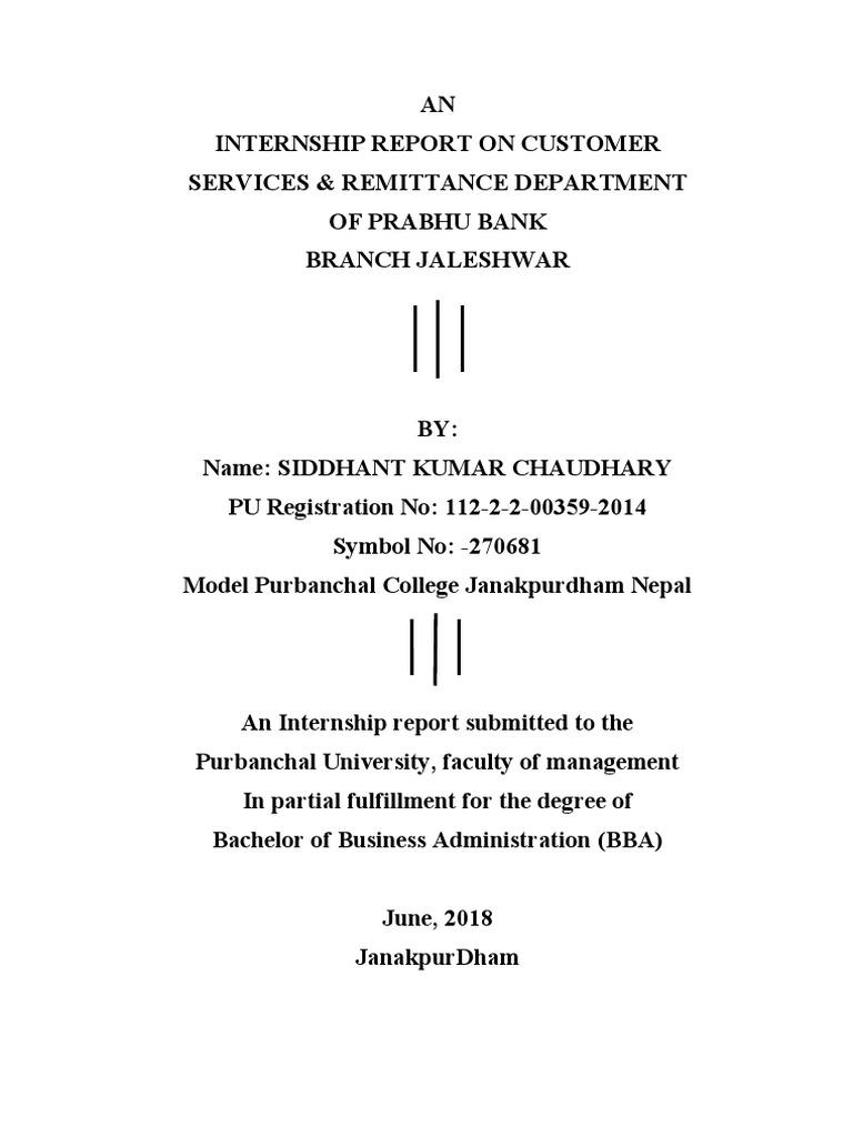 Internship Report on Prabhu Bank, Nepal by Siddhant Kumar