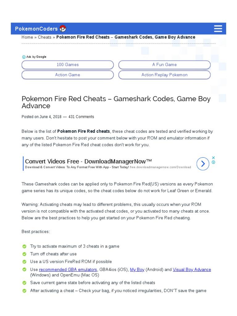 Pokemon Fire Red Cheats – Gameshark Codes, Game Boy Advance