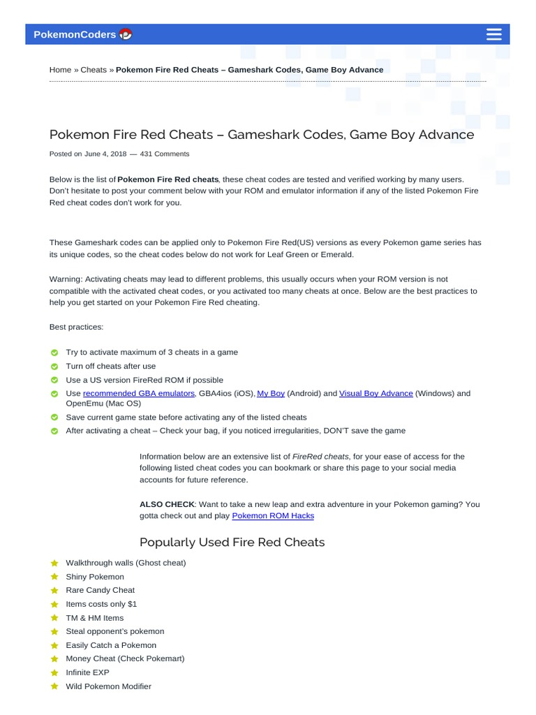 Pokemoncoders Com | Cheating In Video Games | Pokémon