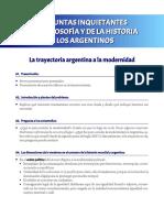Preguntas Inquietantes de La Filosofía y La Historia a Los Argentinos