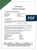 Ficha Tecnica Metabisulfito Sodico