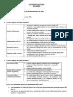 Cuestionario de Historia proceso de independencia de Chile