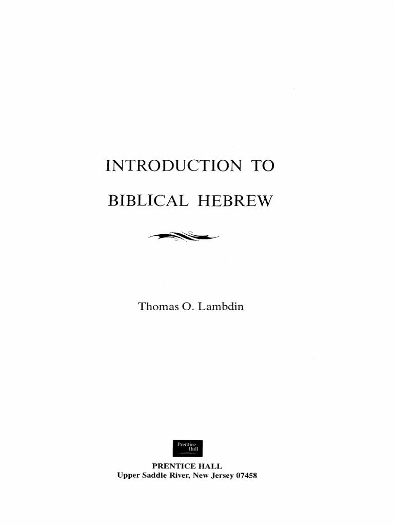 Lambdin - Introduction to Biblical Hebrew pdf | Hebrew