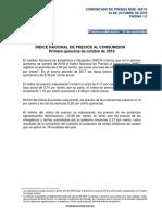 ÍNDICE NACIONAL DE PRECIOS AL CONSUMIDOR Primera quincena de octubre de 2018
