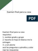 Examen Final Para Su Casa