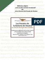 Las Fuentes de La Historia de Sinaloa