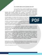 COMUNICADO – Justicia, Encuentro y Perdón Celebra Acciones Judiciales Ante La CPI