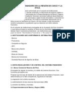 El Sistema Financiero en La Región de Cusco y La Ética