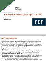 Earnings Call Transcripts Analysis, Q2 2018