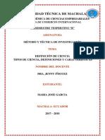 DEFINICIÓN DE CIENCIA-TIPOS DE CIENCIA Y CARACTERÍSTICAS