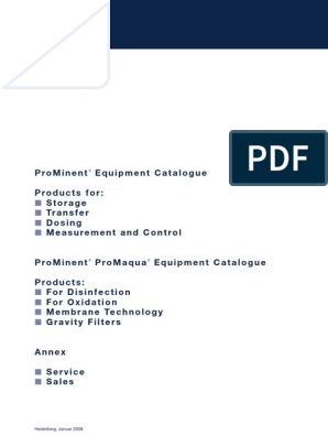 Catálogo Geral de Produtos PROMINENT | Chlorine | Pump