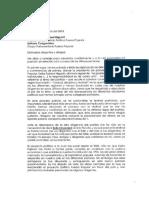 Carta del congresista Rolando Reátegui a Keiko Fujimori
