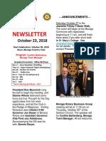 Moraga Rotary Newsletter Oct 23 2018