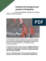 Solicitan Declaratoria de Emergencia Por Colapso de Puente en Vilcabamba