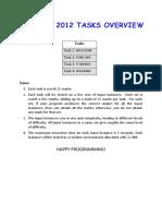 National Olympiad in Informatics (NOI) Tasks 2012