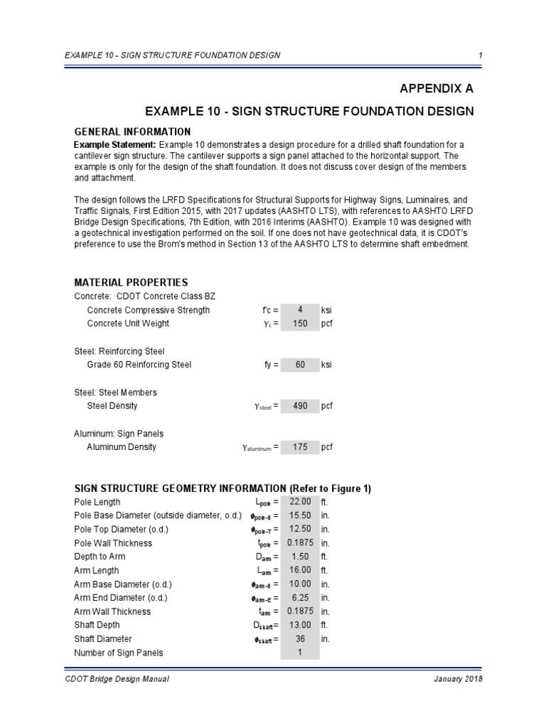 Example 10 - Sign Structure Foundation Design Appendix A