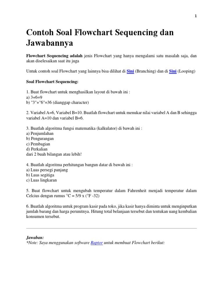 Contoh Soal Flowchart Sequencing Dan Jawabannya Buat Kelas 2a