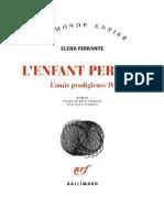 Elena Ferrante - L'Amie Prodigieuse, Tome 4 - L'Enfant Perdue 2018