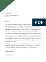 Appliation Letter