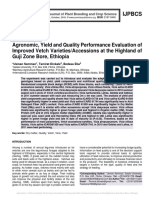 Agronomic, Yield and Quality Performance Evaluation of Improved Vetch Varieties/Accessions at the Highland of Guji Zone Bore, Ethiopia