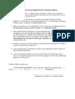 Affidavit of Authenticity of Document