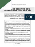 Prova CEFET RJ 2018