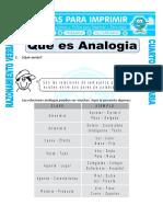 Ficha Que Es Analogia Para Cuarto de Primaria