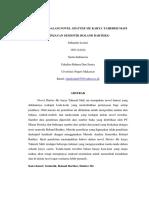 Kode-kode Dalam Novel Shatter Me Karya Tahereh Mafi (Tinjauan Semiotik Roland Barthes)