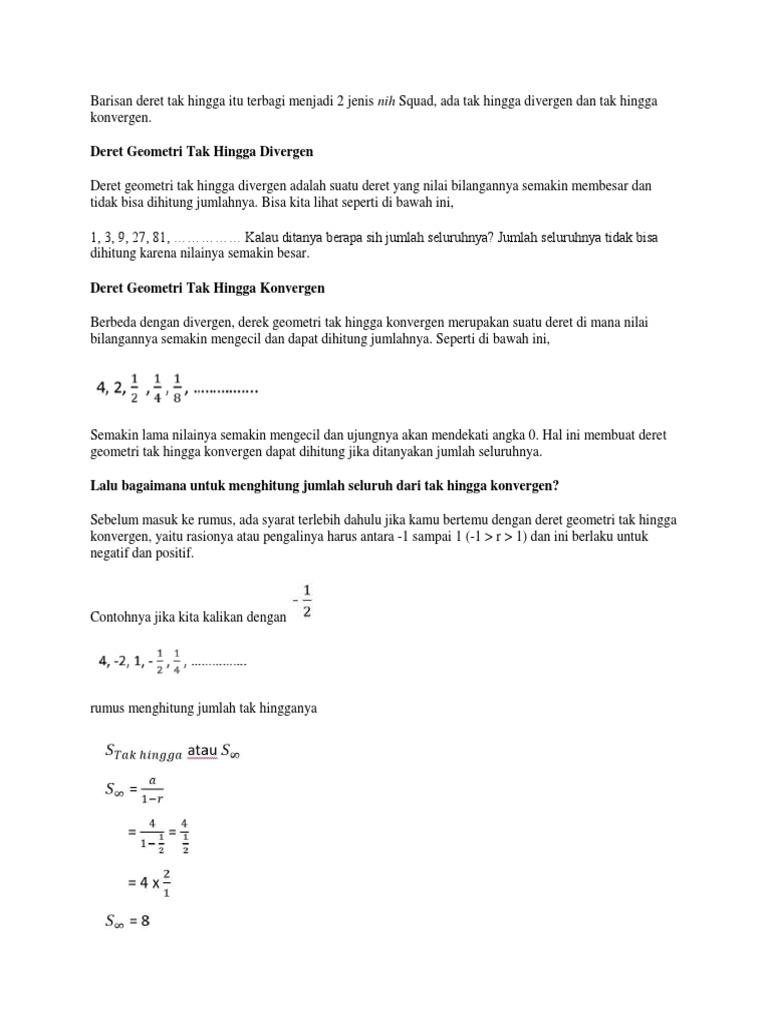 Contoh Soal Deret Geometri Tak Hingga Konvergen